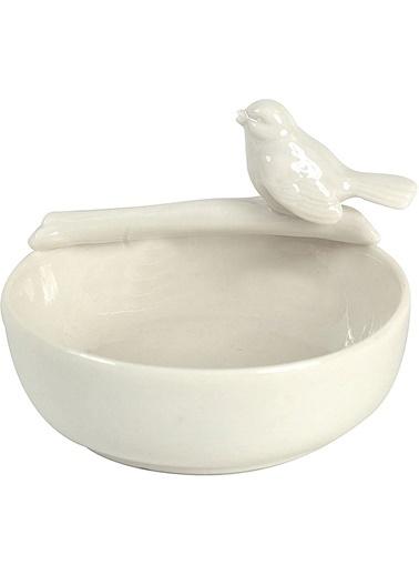 Warm Design Seramik  Kuş Figürlü Kase Beyaz